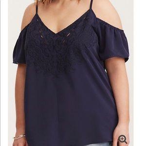 Torrid Embroidered Cold Shoulder Blouse 1X